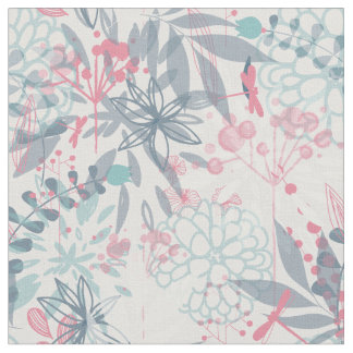 Pink and Blue Abstract Flowers Pattern Fabric