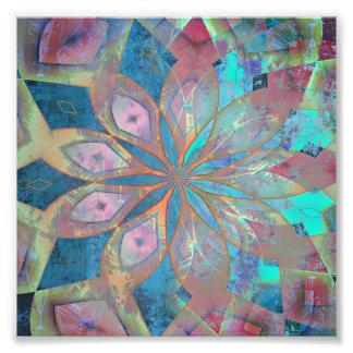 Pink and Blue Abstract Mandala Tile Photo Print
