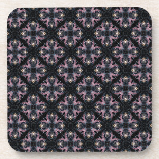 Pink And Blue Abstract Pattern On Black Coaster