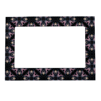 Pink And Blue Abstract Pattern On Black Magnetic Frames