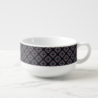Pink And Blue Abstract Pattern On Black Soup Mug