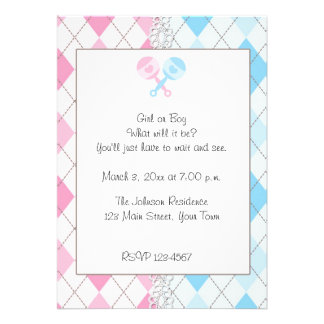 Pink and Blue Argyle Gender Reveal Invitation