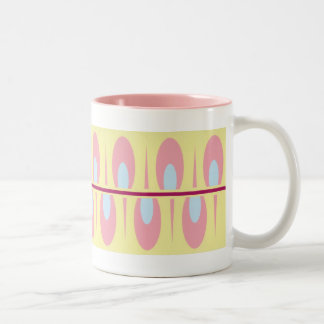 Pink and blue art deco mug