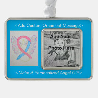 Pink and Blue Awareness Ribbon Angel Ornament Silver Plated Framed Ornament