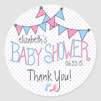 Pink and Blue Baby Bunting Classic Round Sticker