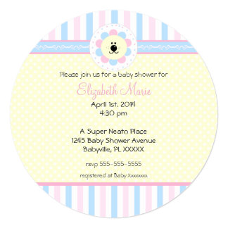 Pink and Blue Baby Shower-Round Custom Invitations