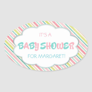 Pink and Blue Baby Shower Oval Sticker