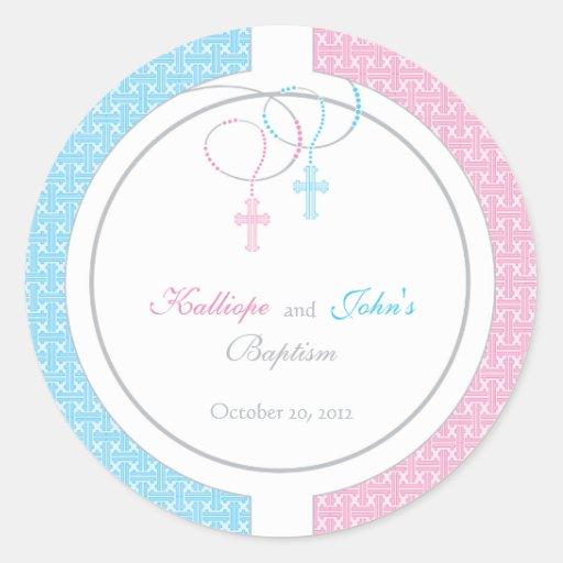 Pink and Blue Baptism Favor Sticker