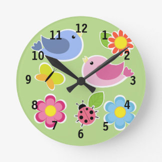 Pink and Blue Bird(Medium) Wall Clock
