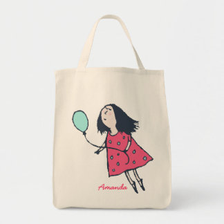 Pink and Blue Birthday Balloon Girl Tote Bag