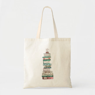 Pink and Blue Bookstack Tote