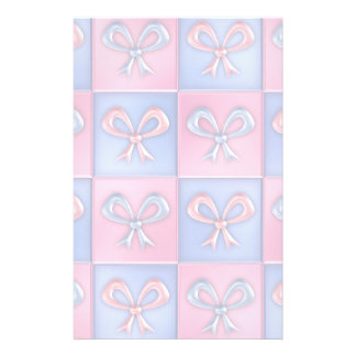 Pink and Blue Bows Stationery