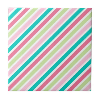 Pink and Blue Bright Stripes Tile