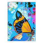 Pink and Blue Butterfly greeting or note Cards