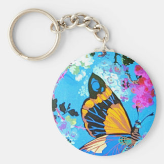 Pink and Blue Butterfly Line Basic Round Button Key Ring