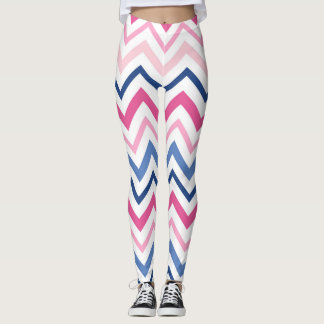 Pink and Blue Chevron Leggings