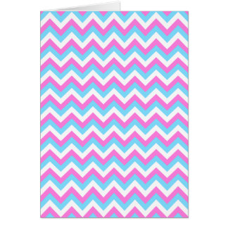 Pink and Blue Chevron Zig Zag Stripes. Greeting Card