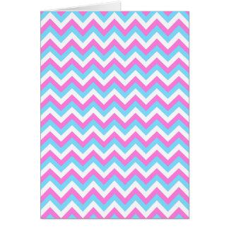 Pink and Blue Chevron Zig Zag Stripes. Greeting Card