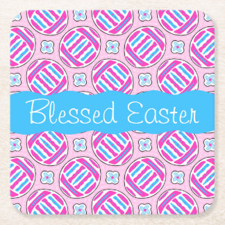 Pink and Blue Colorful Easter Eggs and Flowers Square Paper Coaster