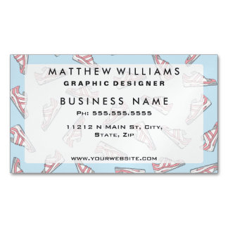 Pink and Blue Cute Sneakers Pattern Magnetic Business Cards