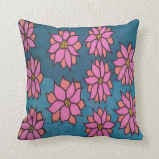 Pink and Blue Dahlia Pattern Throw Pillow