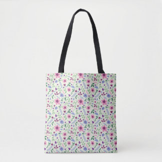 Pink and Blue Daisy Tote