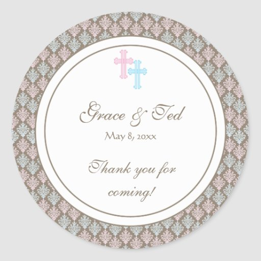 Pink and Blue Damask Cross Favor Sticker