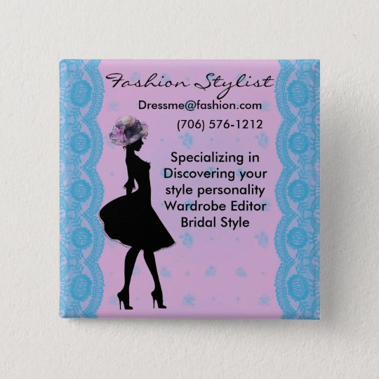 Pink and Blue Damask Fashion Stylist Button