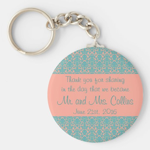 Pink and Blue Damask Thank You Keychain