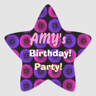 Pink and Blue Dandelions Birthday Party Sticker