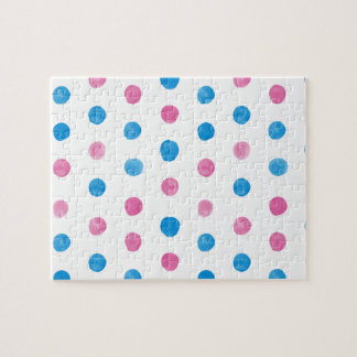 Pink and Blue Dot Party Jigsaw Puzzle