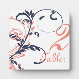 Pink and Blue Double Floral Table Number Plaque