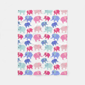 PINK AND BLUE ELEPHANT PATTERN Fleece Blanket