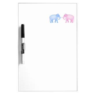Pink and Blue Elephants Birthday or Gender Reveal Dry Erase Board