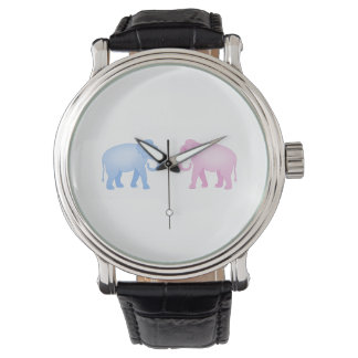 Pink and Blue Elephants Birthday or Gender Reveal Watch