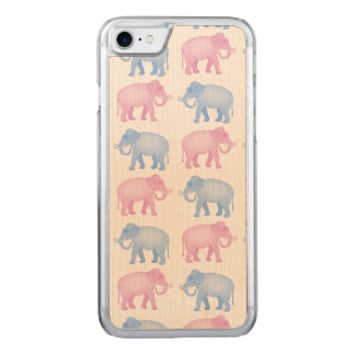 Pink and Blue Elephants Gender Reveal Carved iPhone 7 Case