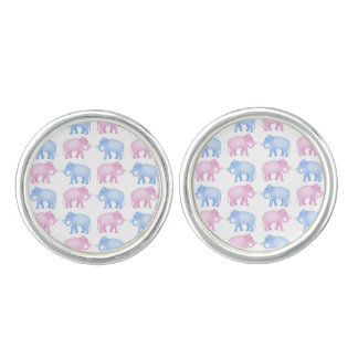 Pink and Blue Elephants Gender Reveal Cuff Links