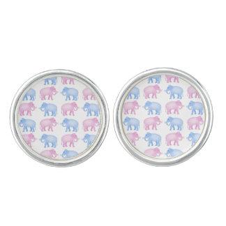 Pink and Blue Elephants Gender Reveal Cufflinks