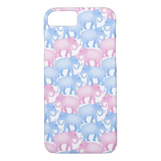 Pink and Blue Elephants iPhone 7 Case