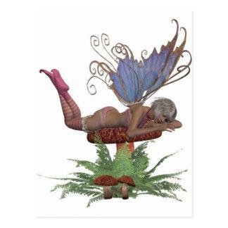 pink and blue fairy on mushroom post card