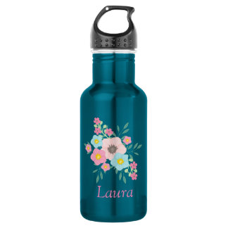 Pink and Blue floral display 532 Ml Water Bottle
