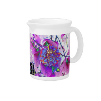 Pink And Blue Floral Print Pitcher