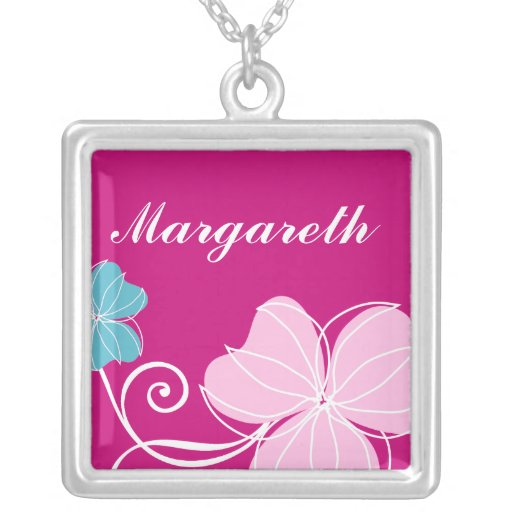 Pink and Blue Floral Square Pendant Necklace