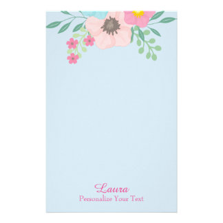 Pink and Blue Floral Stationery