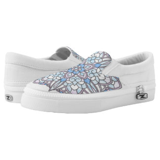 Pink and Blue Flower Slip-On Shoes