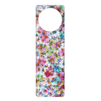 Pink And Blue Flowers Abstract Door Hangers