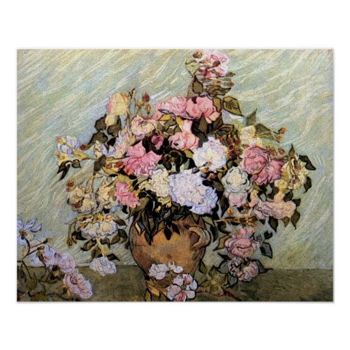Pink and Blue Flowers by Van Gogh Poster