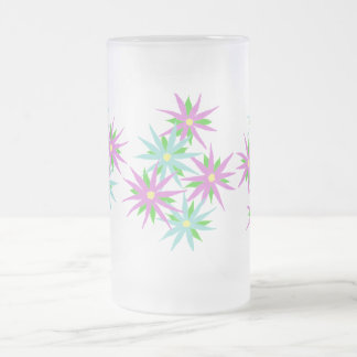 Pink and Blue Flowers Stein Coffee Mugs