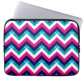 Pink and Blue Geometric Chevron Pattern Laptop Sleeve