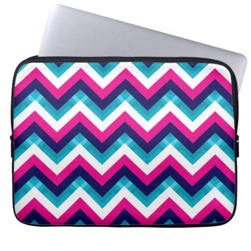 Pink and Blue Geometric Chevron Pattern Laptop Sleeve